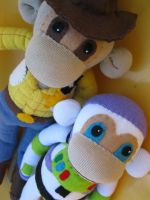 Woody and Buzz Sock Monkeys by REBELalaMODE