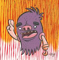 Floating Purple Fluff Beast by sweetlygrotesque