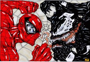 spiderman vs venom original art colour by darkartistdomain