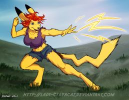 Pikachu Gal Commission by lady-cybercat