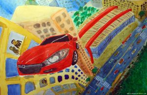 Dodge Dart car flying over Paulista Av (painted) by MauricioKanno