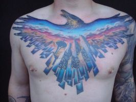 Seattle theme chest piece by viptattoo