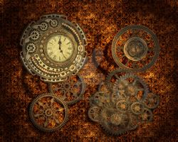 Steampunk Background Wide 1 by Elle-Arden