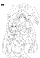 Lala and Yami Darkness Lineart by FM013