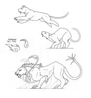 Leaping Feline Concept Sketch by MoonsongWolf