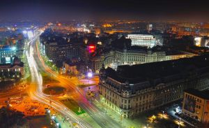 Bucharest night view from 22 floor by missfortune11