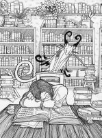 Sleeping in the Library by LadyViridis