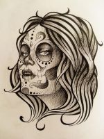 Day Of The Dead Tattoo Design by Kelden17
