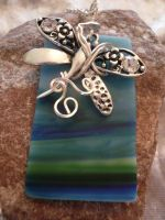 Silver Wire Wrapped Butterfly with Sea Glass by DaisyLeeDesigns