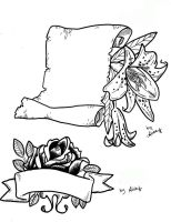 Lily banner and rose Flash by Inkerbelltattoo