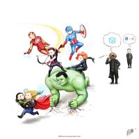 Loki and the Avengers with Nick Fury by Develv