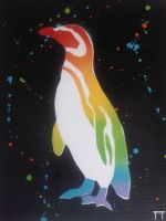 Rainbow Penguin by GateGraffiti