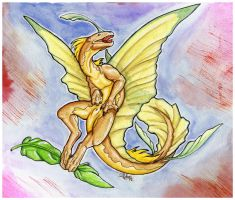 Watercolor dragon by mythori