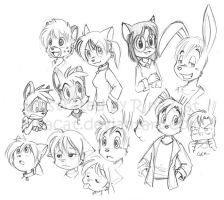 my old characters redrawn by rinacat