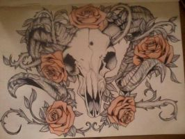 Roses and Ram's Skull Tattoo Design by BringLilyTheHorizon
