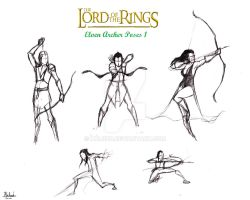 Lotr Elf Archer Action poses 1 by halrod