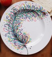 Colorful Feather by DrawforToffeeCeramic