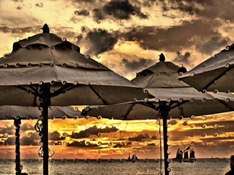 Sunset Umbrellas by OneClownShoe
