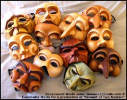 Commedia Dell'Arte Masks by Alyssa-Ravenwood