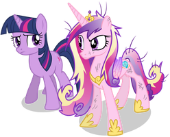 Sceptical Princess Cadance and Twilight Sparkle by 90Sigma