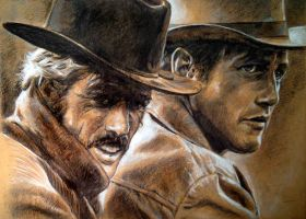 Robert Redford Paul Newman by MannHau