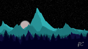 Low Poly Landscape (Night) by Keraef