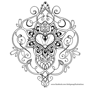 Heart - Free Colouring Page by DottyMay