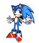 sonic drawing 1 comic style by paperartist9890