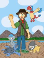 Paleontology Trainer and his Fossil Pokemon by MCsaurus