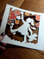 Kicking Up The Leaves - Original Papercut by PaperPandaCuts