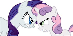 Rarity Sweetie Bell Hate Stare by PressToShoot