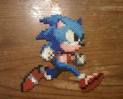 Perler Beads Sonic the hedgehog by yolei-s