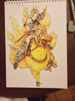 Vaan on a chocobo, fineliner and watercolour by InValhallaWeEnd