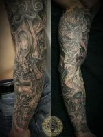 sleeve horror skull characters by 2Face-Tattoo
