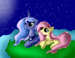 Luna and Fluttershy by MarshmallowWithChoco