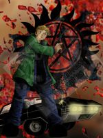 SPN - Dean Winchester : Bloodspatter and Impala by DragonPress
