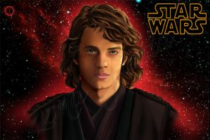 Digital Portrait ANAKIN SKYWALKER of STAR WARS by hisui1986