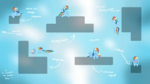 Rainbow Dash guarding your icons (Wallpaper) by Prollgurke