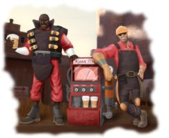 Demoman and Engineer. by Klashmyag
