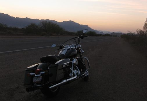 Arizona Sunrise with bike 072614 04 by acurmudgeon