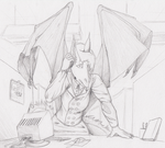 Business dragon [shaded and added bg] by someoneabletofindana