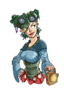 Steampunk Character Design (Hairstyle 2) by Pencilbags