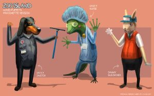 Zoo Island Hand Puppets - Marionette Version by freakyfir