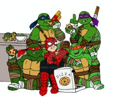 Spidey and the Turtles by xero87