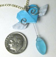Winged Heart Pendant - Aqua by pandacub143