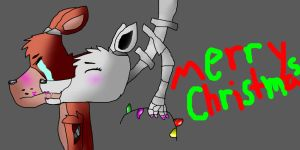 Merry Christmas Foxy and Mangle by DarkCat01