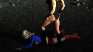 Supergirl kicked onto her back by rustedpeaces