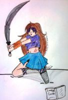 Girl with blade .:color:. by Sunnibutt