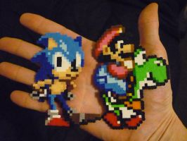 Perler Mini Beads: Sonic and Super Mario on Yoshi by monochrome-GS