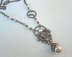 Pearl Steampunk Necklace by Beadlady5